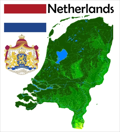 netherlands map: Netherlands map flag coat