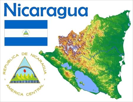 Nicaragua map flag coat