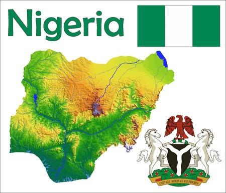 Nigeria kaart vlag jas