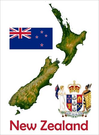 New Zealand map flag coat
