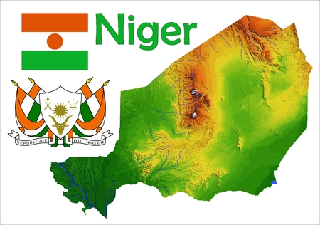 constitutional: Niger map flag coat Illustration