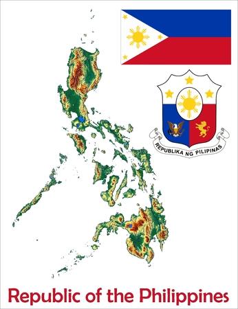 Philippines map flag coat