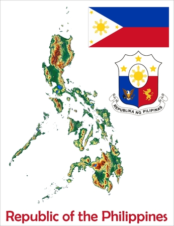 philippines map: Philippines map flag coat