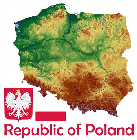 Poland map flag coat