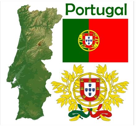 Portugal map flag coat Stock Illustratie