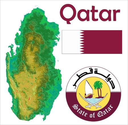 Qatar map flag coat