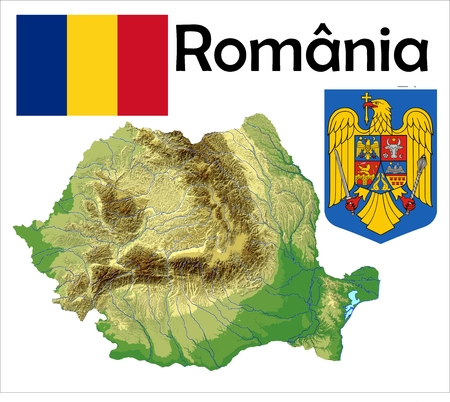 Romania map flag coat