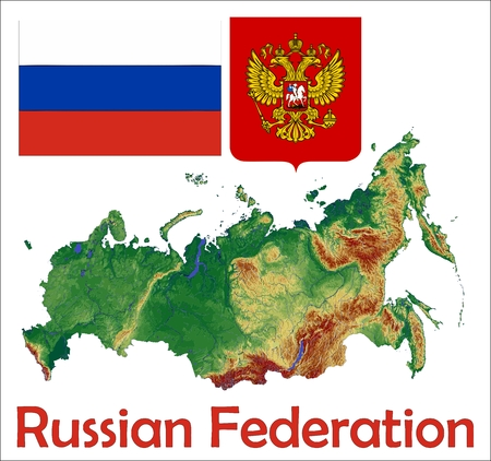 russia map: Russia map flag coat