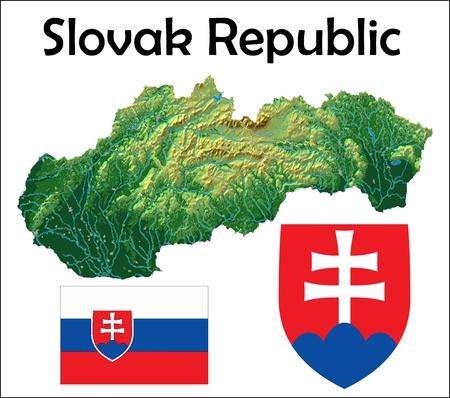 Slovakia map flag coat