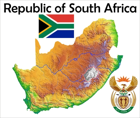 South Africa map flag coat Zdjęcie Seryjne - 37748308