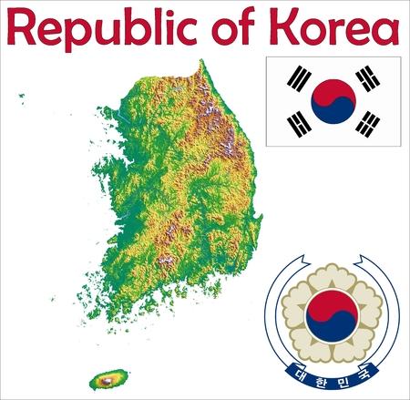 South Korea map flag coat