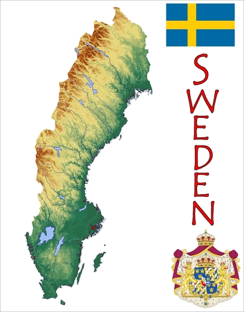 constitutional: Sweden map flag coat