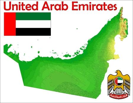 United Arab Emirates map flag coat