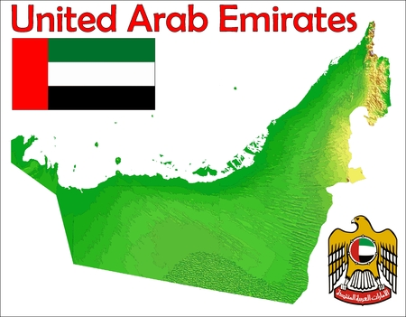 United Arab Emirates map flag coat