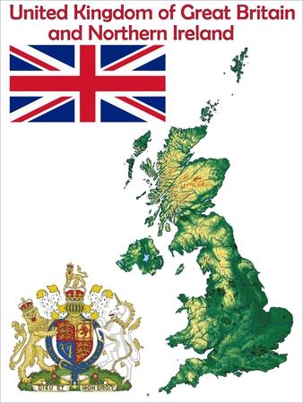 United Kingdom map flag coat Vectores