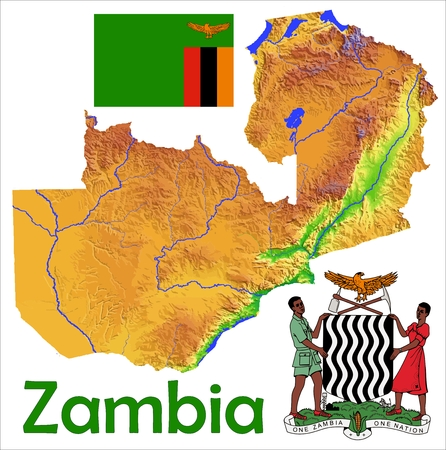 constitutional: Zambia map flag coat