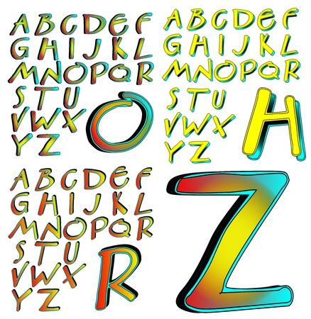 combo: ABC Alphabet lettering design Aberration combo