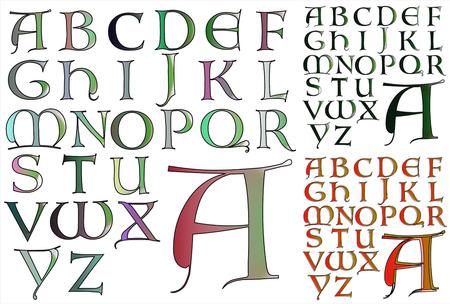 ABC のアルファベットのレタリング デザイン ロンバルディア コンボ