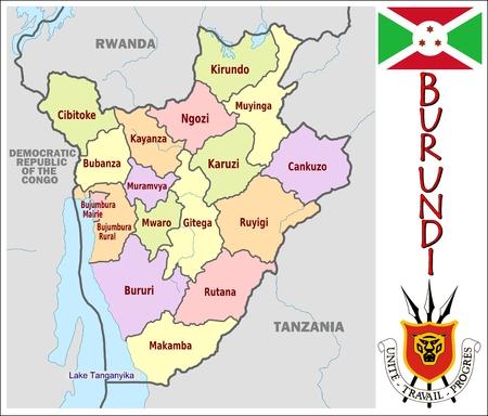 administrativo: Divisiones administrativas Burundi Vectores