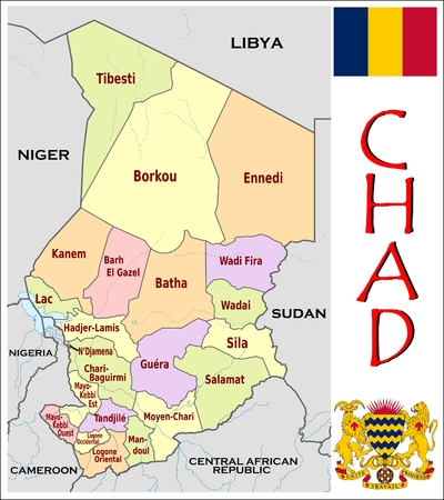 administrative: Chad administrative divisions Illustration