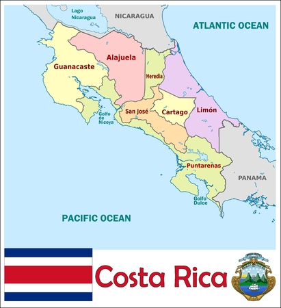 Costa Rica Administrative Divisions Royalty Free Cliparts Vectors
