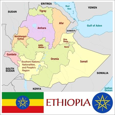 administrativo: Divisiones administrativas Etiop�a Vectores