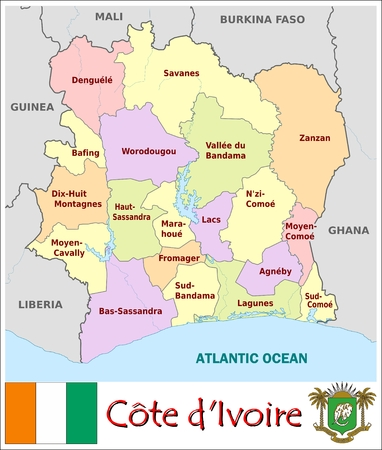 administrative divisions: Ivory Coast administrative divisions Illustration