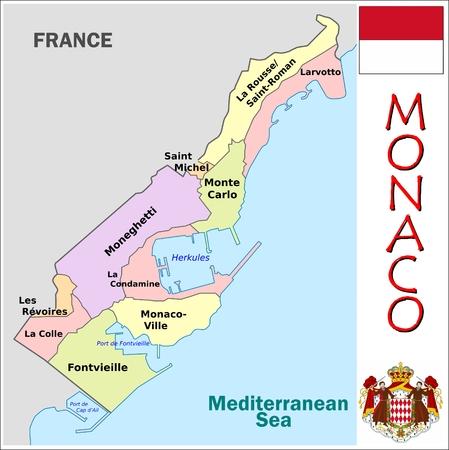 Monaco administrative divisions Illusztráció