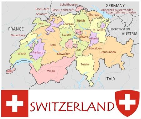 Switzerland administrative divisions Illustration