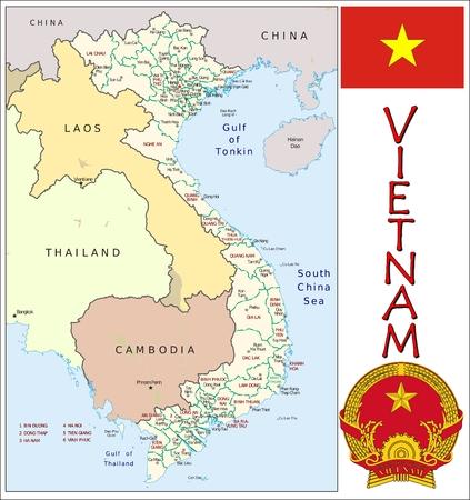 administrativo: Divisiones administrativas Vietnam Vectores