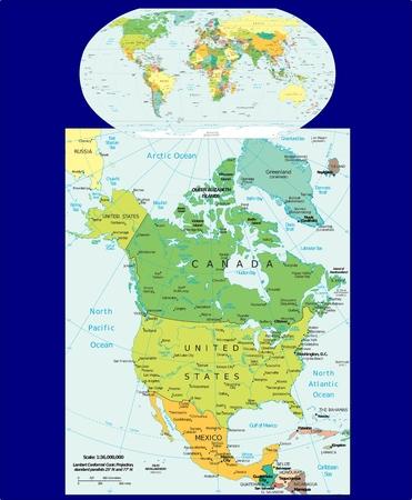 World North America political Stockfoto
