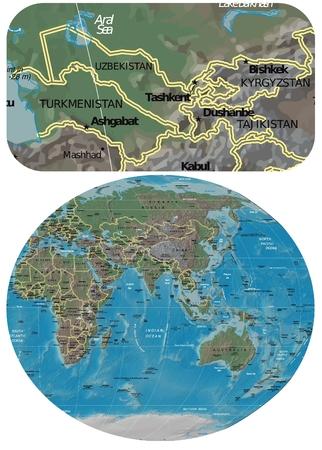 oceania: Uzbekistan and Asia Oceania map Illustration