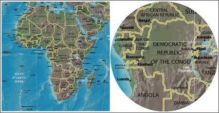 Democratic Rep Congo and Africa map Illustration