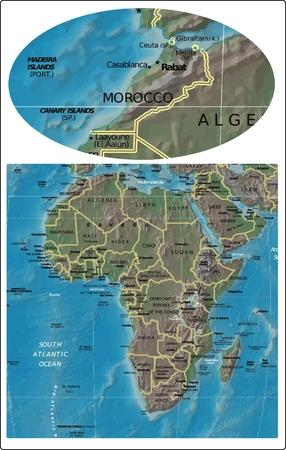 Morocco and Africa map Illusztráció