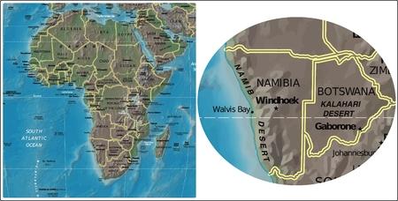 Namibia Botswana and Africa map
