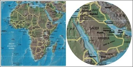Saudi Arabia and Africa map