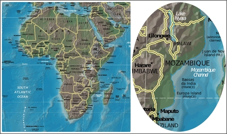 Mozambique and Africa map Illustration