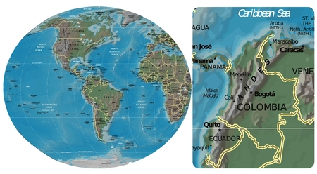Colombia and The Americas map