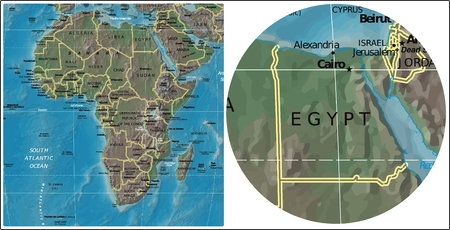 Egypt and Africa map Illustration