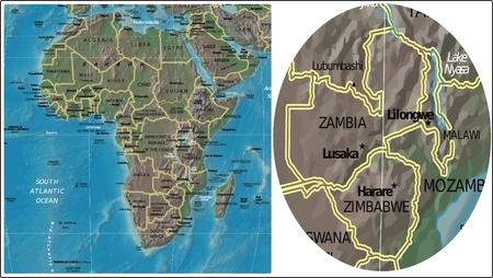 Zambia Zimbabwe Malawi and Africa map