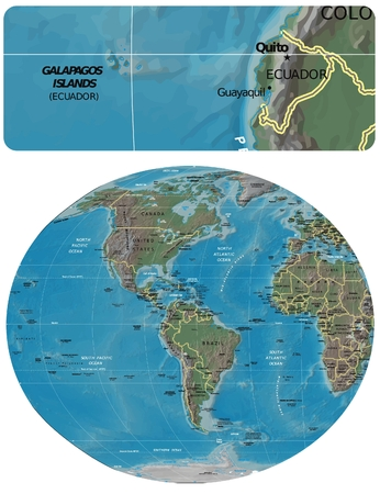 Ecuador an The Americas map