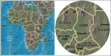 Chad and Africa map Illustration