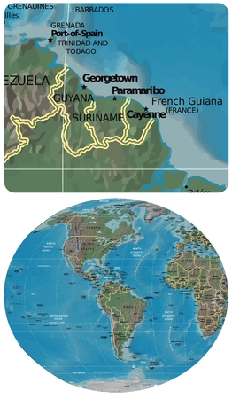 americas: Guyana Suriname French Gu. and The Americas map