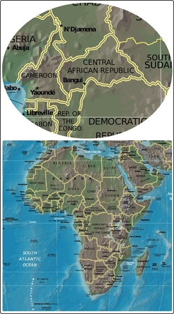 Central African Cameroon and Africa map
