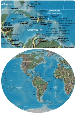 Caribbean Basin and The Americas map