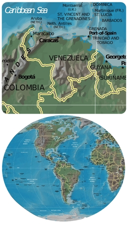 Venezuela and The Americas map Illustration