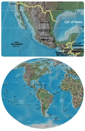 Mexico and The Americas map