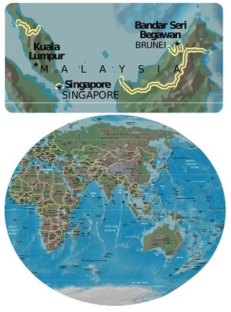 Malaysia and Asia Oceania map