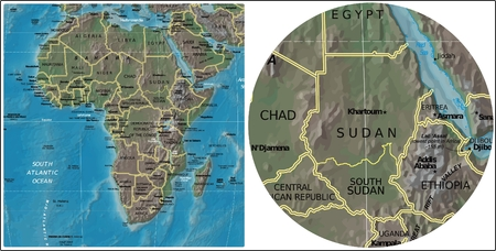 Sudan and Africa map