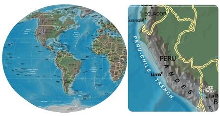 Perú y América mapa